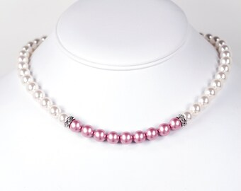Swarovski Pearl Necklace Color Block Pink and White with Heart Toggle Clasp