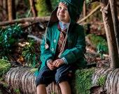 On Sale - Child's Size 4/5 Woodland Costume: Peter Pan, Elf, Gnome, Hobbit - All Cotton/Linen - Coat, Vest, Pants, Hat - Ready To Ship Now