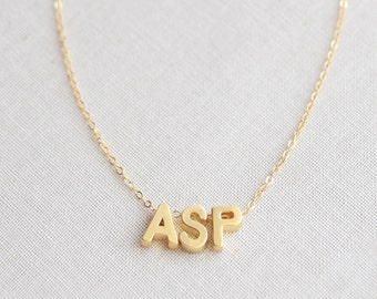 2, 3, or 4 Letter Necklace,  Initials Necklace, Capital Letters, Lowercase Initials Necklace, Personalized Monogram Necklace - 1104