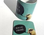 NEW - Melamine Coaster Amser Panad Welsh Tea Time Teal Sheep
