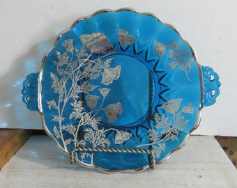 Dalzell Viking, Silver Overlay, Serving Plate, Blue Handled Plate, New Martinsville, W. Virginia,Silver Poppy Design, Home Decor