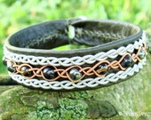 Healing Power YDUN Swedish Sami Viking Bracelet Cuff Handmade in Olive Army Reindeer Leather, Copper and Pewter Braids with Gemstone Beads