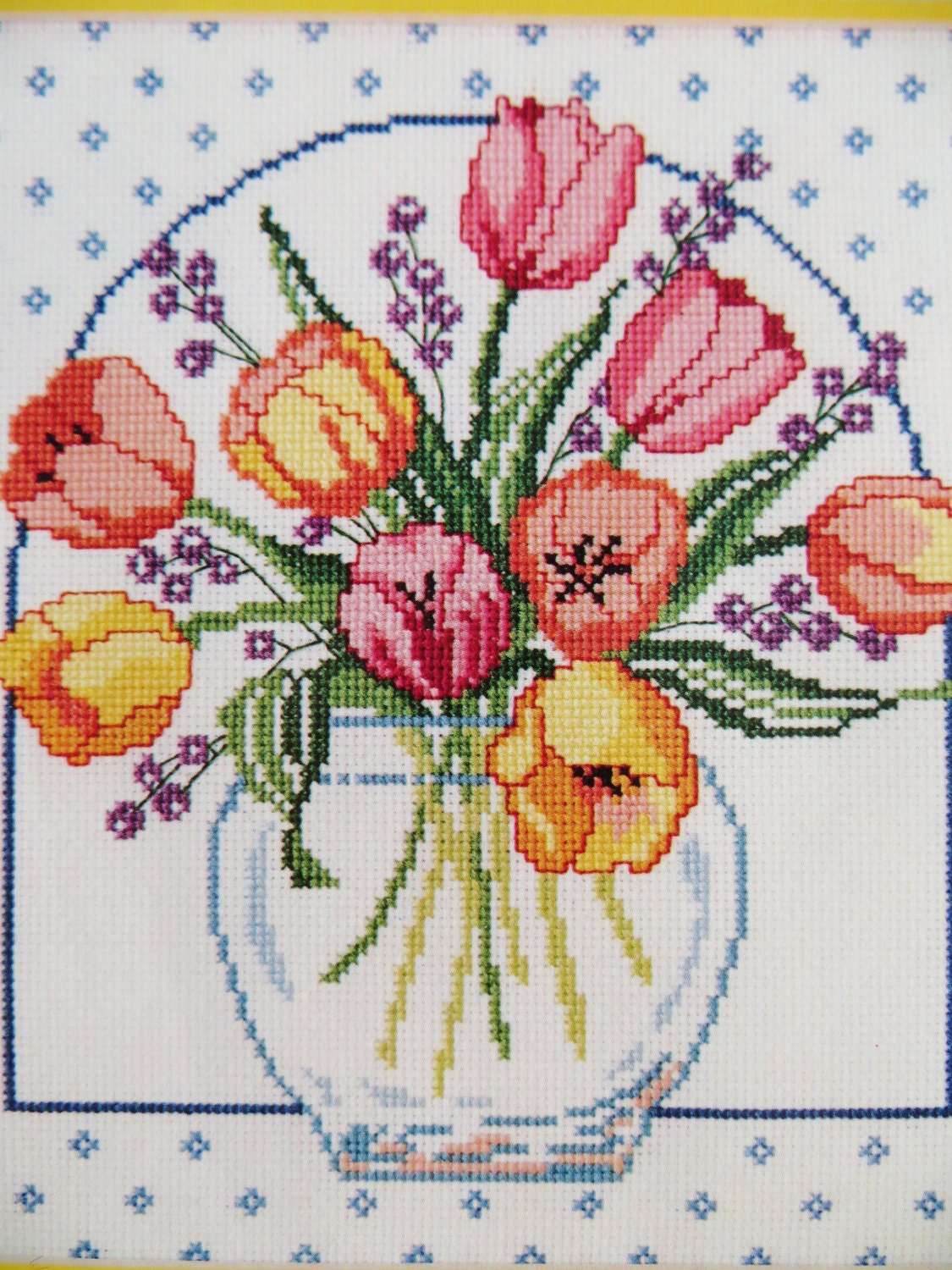 Vintage Cross Stitch Embroidery Kit Tulip Bouquet By By