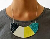 Statement Bib Turquoise & Yellow Necklace