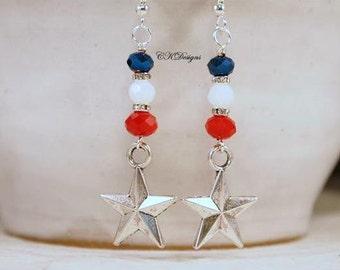 Texas Star Patriotic Earrings, Red, White and Blue Glass Beads, Dangle Pierced Earrings. OOAK Handmade Earrings. CKDesigns.US