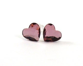 Dusty Rose Heart Earrings  10mm Antique Pink Swarovski Crystals on Titanium Posts  Modern  Hypoallergenic Jewelry  Valentine's Day