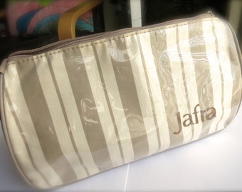 SALE-Vintage Jafra Cosmetics Zipper Pouch-Cream & Taupe Stripes-Vintage 1990's Bag-Makeup, Travel, Suitcase-Road Trip-Summer Luggage for Her
