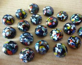 12 glass cabochons, Ø8mm, harlequin, black, round