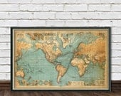 World map restored - Chart of the world ,  vintage map fine reproduction - Large map of the world fine print
