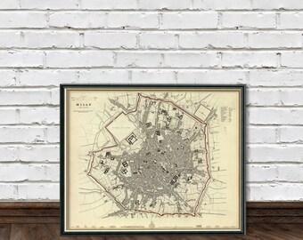 Milan map - Vintage map of Milan - fine reproduction -  Mappa di Milano