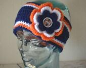 READY TO SHIP - Adult Denver Broncos Inspired Flower Earwarmer Headband with Bottlecap Logo Center - Football