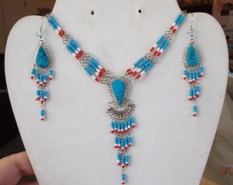 SALE Native American Style Beaded Red, White, Blue Turquoise Stone Statement Necklace Southwestern, Boho, Tribal, Gypsy  Ready to Ship