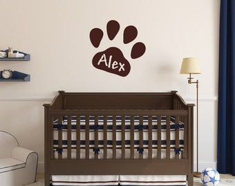 Personalized Paw Print Wall Decal - Paw Print Wall Decal - Puppy Nursery Decor -  Kids Room Decal - 22546