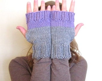 gray + lilac fingerless gloves, color block knit fingerless gloves