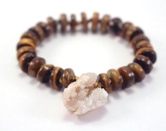 Druzy Tiger Eye Bracelet, OOAK Boho Jewelry, Moroccan Druzy Jewelry, Raw Natural Stone Jewelry, Druzy Geode Tiger Eye Gold Hematite Bracelet