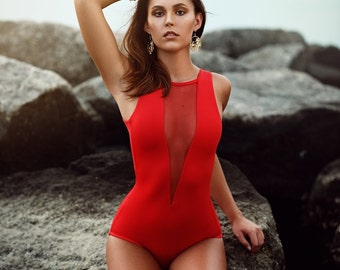 Deep V swimsuit -Red