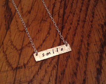 SALE - Smile Necklace, Hand Hammered, Hand Stamped, Hand Smithed Sterling Silver Simple Bar Necklace, Customizable, Arrives Gift Wrapped