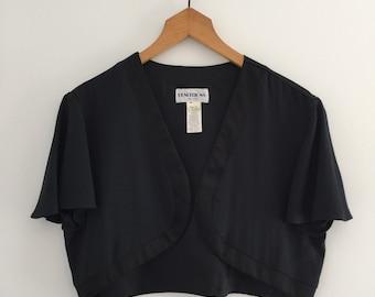Vintage 70's Cropped Bolero / Black Tuxedo Crop Shrug Jacket M