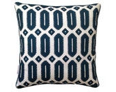 Ink Navy Hexagon linen cushion cover