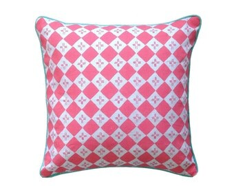 SALE: Flamingo pink Checkers linen cushion cover