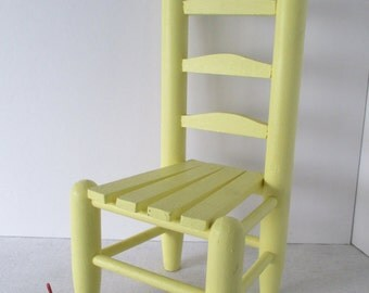 Miniature Ladderback Toy Chair, Vintage Yellow Dining Chair, Slat Seat, Wooden Doll Chair, Chic Shabby Seating, Photo Display Prop