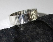 Sterling Silver Ring Band / Medium / Hammered Tree Bark Effect 268S - Ready to Ship
