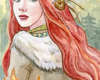 Norse Goddess Glut Limited edition ACEO/ ATC print