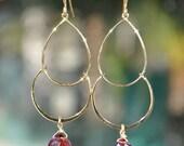 SALE Garnet Earrings - January Birthstone Earrings - Gold Chandelier Earrings - January Birthstone Jewelry - Garnet Jewelry