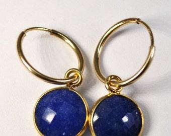 SALE Blue Sapphire Earrings - Dainty Gold Hoop Earrings - September Birthstone - Sapphire Jewelry