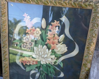 Pair/ANTIQUE FRAMES/WOOD/Carved/Flowers Ribbons/Black Background