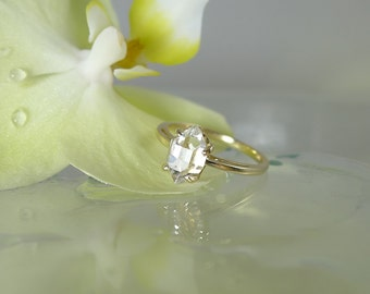 Herkimer Diamond Uncut Ring Solitaire Yellow Gold