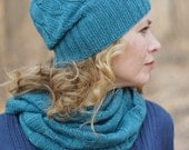 Hand knit women spring set Scarf and hat merino wool spring READY TO SHIP