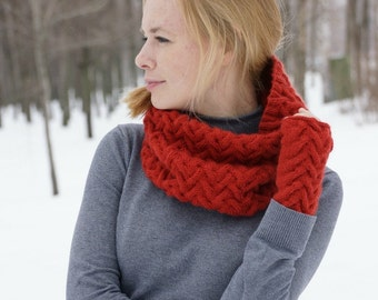 Hand knitted women cowl and gloves  spring trends rustic woodland red OOAK red cowl