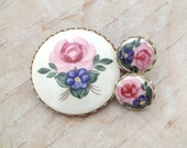 Vintage Pink Rose and Purple Floral Round Porcelain Brooch and Screw Back Earrings Set / Bezel Set in Gold Tone Scalloped Frame