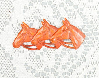 Vintage 1930s Apricot Celluloid Horse Head Brooch