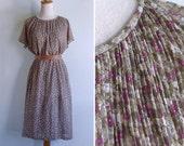Vintage 80's Olive Green Fuchsia Florals Plissé Pleat Dress XL