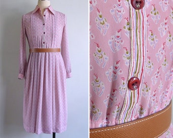 Vintage 80's Pink Floral Bouquets Collared Shirt Dress XS or S