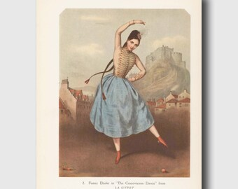 La Gypsy Art Print, Ballerina Illustration (Vintage Ballet Decor) 1940s Ballet Wall Hanging No. 2