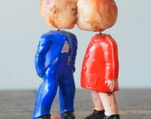 Reserved for MsDaisy Vintage Celluloid Boy and Girl Kissing Magnet Bobblehead Dolls