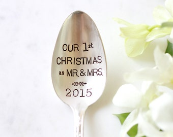 Our First Christmas as Mr and Mrs. Stamped Serving Spoon. For your Christmas Table. Newlyweds. Wedding Gift.