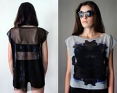 BLACK SANDS Sheer Black Mesh Gray Chiffon Blouse - Abstract Zen Print Top, Boho Goth Oversized Tee Shirt, Sexy Witch, See Through Tunic
