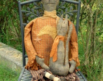 Large Primitive Halloween Witch Doll with Black Cat