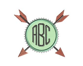 Arrow Monogram Frame Machine Embroidery Applique Design-INSTANT DOWNLOAD