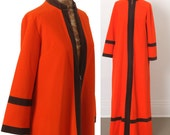 Hold for Cruella: 1960s Mod Caftan by VANITY FAIR, Atomic Space Age Mondrian Cardin, 60s Orange, Brown Trim, Floor Length Maxi