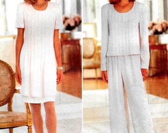 Pin Tuck Front Semi Fitted Dress or Top, Wide Leg Pants, Butterick 3897 Size 12-14 Bust 34-36 Sewing Pattern, David Warren Designer, UNCUT