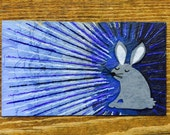 Trippy Blue Bunny Rabbit Oil Hand Painted Magnet ACEO