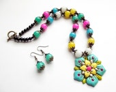Multi Color Necklace, Flower Necklace, Multicolor, Rainbow, Bright Colors, Handmade, Necklace and Earring Set, OOAK