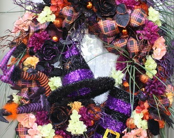 Halloween Wreath Floral Grapevine Wreaths Witch Hat Boots & Legs Home Decor Front Door Wreaths FREE SHIPPING
