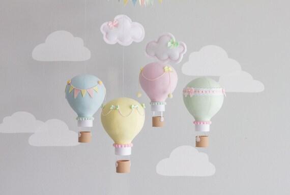 Pastel baby mobile hot air balloon mobile custom mobile - Designer babymobel ...
