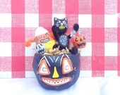 Handmade Paper Clay Jackolantern Basket Vintage Inspired Kitschy Candy corn and Black Cat Halloween Decor